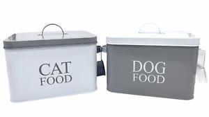 Pet Food Dog Cat Grey White Treat Traditional Metal Storage Tin & Scoop
