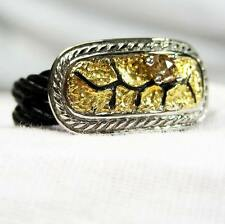 CHARRIOL DIAMOND 18K GOLD Silver Noir CABLE Women Lady 5.5 Ring Holiday Gift New