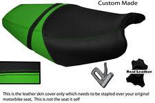Negro Y Verde Personalizado se adapta a Kawasaki Zzr 1400 Zx14 06-11 Doble Cuero Funda De Asiento