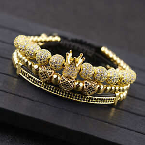 Luxury Fashion Men's Micro Pave CZ Ball Crown Braided Adjustable Bracelets Gifts