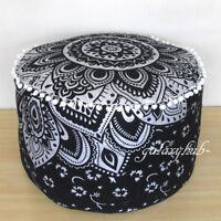 "22"" Silver Mandala Pouf Ottoman Foot Stool Indian Decorative Floor Pillow Covers"