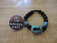 "GOLDEN GATE SANTA FE RR 1.5: BBUTTON....TRAIN TURQUOISE & GLASS  1.5"" BEAD...57"