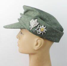 WWII GERMAN MILITARY FIELD CAP HAT METAL SNIPER EDELWEISS CAP BADGE PIN SIZE L