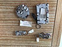 Vera Bradley NEW Playful Penguins Gray mirror, key chain, lanyard, zip id case
