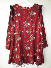 HANNA ANDERSSON Challis Rose Floral Dress Cranberry 140 10 NWT