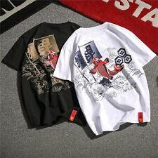 Men T-shirt Japanese Koi Carp Fish Ukiyoe Wave Tattoo Slim Fit Vintage M-5XL I1