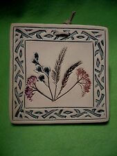 White Mountains of Arizona pressed flowers & grasses hanging ART TILE / trivet.