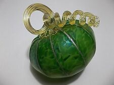 OOAK Studio Art Glass PUMPKIN Green Iridescent GOLD Curly Stem SIGNED
