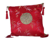 Chinese Silk Decor, Cushion Cover - Red Base with Bamboo Leaves - 40 x 40 cm