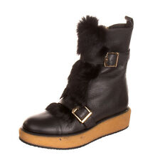 RRP €275 PALOMA BARCELO Leather Ankle Boots EU 39 UK 6 US 9 Grainy Wedge Crepe