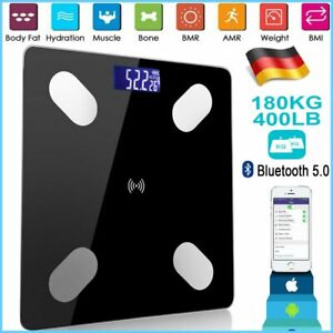 Bluetooth Körperwaage Personenwage Fitnesswaage Gewicht LCD BMI Waage180kg *DHL