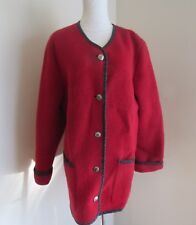 Women LL Bean Jacket Coat Medium Red Pure Boiled Wool Button Up Austria