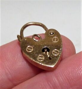 VINTAGE 9CT GOLD LOVE HEART PADLOCK CHARM PENDANT SMALL SIZE 20MM X12MM