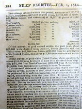 1834 newspaper w US MINT REPORT Number of coins minted CENTS Gold Eagle QUARTERS