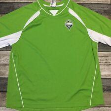 Seattle Sounders FC V Neck T Shirt Jersey Men's Size L Green Polyester
