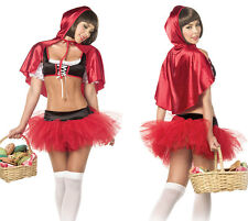 Sexy Red Riding Hood Halloween Costume Lingerie Fairy Tale Cosplay Medium - 5 Pc