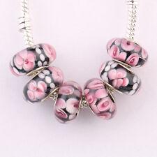5/20Pcs Porcelain Murano Big Hole Lampwork Glass Beads Fit Charm Bracelet Craft