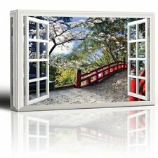 White Window Looking Out Into a Red Bridge Surrounded by Trees-Canvas Art- 24x36