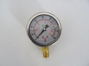 """0-160 psi 63 mm Glycerine Filled Pressure Gauge 1/4"""" Bottom Entry"""