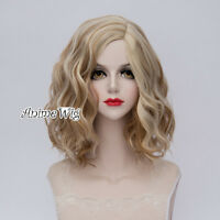 Lolita 35CM Brown Mixed Blonde Ombre Hair Synthetic Curly Women Cosplay Wig