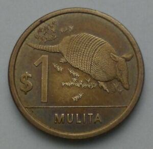 Uruguay 1 Peso 2011. One Dollar coin. Mulita. Animals.