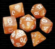 7 Piece Polyhedral Dice Set - Dragon's Breath Caramel Marble - Brown Dice Bag