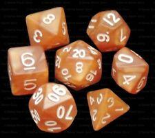 7 Piece Polyhedral Dice Set - Dragon's Breath Caramel Marble - Brown Dice Bag