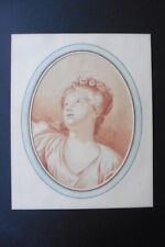 FRENCH SCHOOL CA. 1800 - PORTRAIT YOUNG WOMAN - RED INK DRAWING