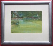 Original pintura de Acrílico sobre tablero de arte irlandés Primavera Jardín por Derek Menary