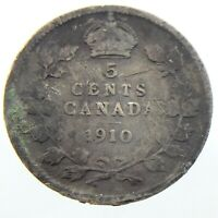 1910 Canada 5 Cents Small Silver Circulated Edward VII Five Cents Coin P204