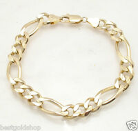 10mm Solid Mens Figaro Chain Bracelet Real 14K Yellow Gold 31.5gr GREAT GIFT