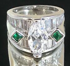 HSN Cocktail Ring Cubic Zirconia Baguettes Emerald Crystals Wedding Sz 6 3u