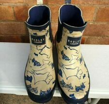 Radley Ankle Wellington Boots Dog Print Beige Blue Wellies UK 6