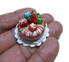 Christmas Cake Dollhouse Miniatures Food Bakery Holiday Xmas