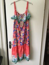 Bnwt Mantaray Peach Floral Tropical Border Summer Dress Size Uk 16