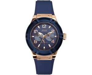 AUTHENTIC GUESS LADIES' JET SETTER WATCH NAVY W0571L1 RRP:$349 Brand New *Dent*
