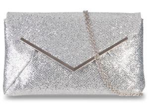 Glitter Clutch Bag Large Flat Ladies Sparkle Evening Metallic Prom 92234