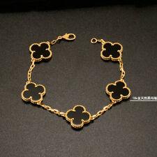 15MM Natural Black Onyx Leaf Clover Bracelet 18K Yellow Gold 7.49 Inches 10G