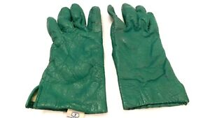 FOWNES LADIES KELLY GREEN LEATHER WINTER GLOVES ACRYLIC FLEECE LINING SIZE 7