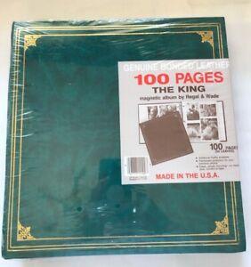 Scrapbook Photo Album 3 ring binder green leather cover 11x11 Regal & Wade