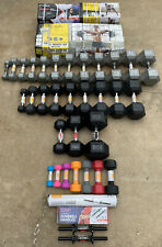 Large Variety Lot of Cast Iron/Neoprene/Rubber Hex Dumbbells & More 2 - 100 lbs