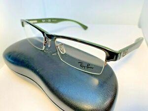 Ray Ban Eyeglasses RB 7012 2489 Dark Tortoise/Green Half Rim Frame 53[]17 140