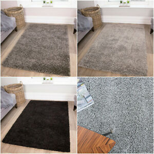 GREY SILVER SHAGGY RUGS 40mm HIGH PILE THICK SOFT LIVING ROOM BEDROOM COSY RUG
