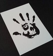 Handprint Skull Hand Fingers Scary Danger Airbrush Paint Mylar Reusable Stencil