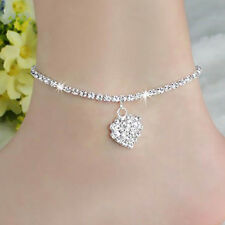 Silver Heart Charm Ankle Bracelet Anklet Foot Ankle Chain Bracelet - USA SELLER