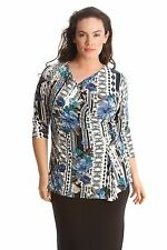 V Neck 3/4 Sleeve Semi Fitted Floral Tops & Shirts for Women