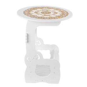 European Bedside Lamp Balcony Side White Small Round Storage Coffee Table Desk