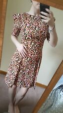 River Island Leopard Print Orange and pink Summer Dress 3/4 Sleeves Size 8