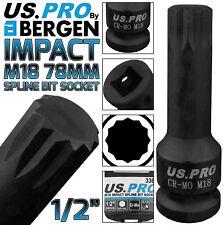 """BERGEN M18 IMPACT SPLINE Bit Socket 1/2"""" 78mm Long Reach VW AUDI HUB Spline M18"""