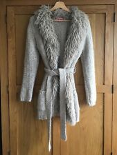 Phase Eight Belted Thick Knit Cardigan With Faux Fur Size 12